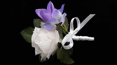 Beautiful Wedding Corsage/Buttonhole Ivory rose/Lilac Hydrangea/Purple Freesia