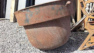 Antique Large Cast Iron Fire Pit Kettle Round Bottom Rustic Planter Pot