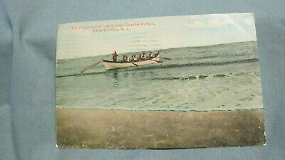 1911  Postcard Government Life Saving Boat in Action Atlantic City N J