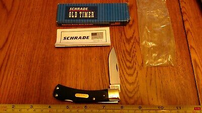 SCHRADE USA Old Timer 5OTG BRUIN Lockback pocket knife Green Saw Cut Delrin NOS