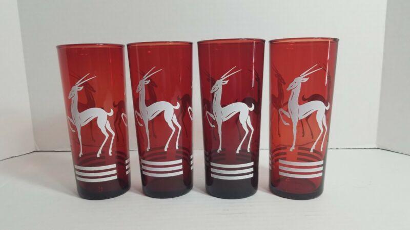 Vintage Hazel Atlas Cranberry Red Highball Glasses Set 4 Gazelle Art Deco Design