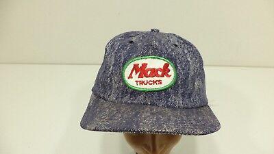 Vintage MACK TRUCKS PATCH Blue Snapback Trucker Hat Cap USA Old Man - USED - Mack Truck Hats
