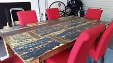 Reclaimed timber dining table and chairs. Excellent Cond. Revesby Bankstown Area Preview