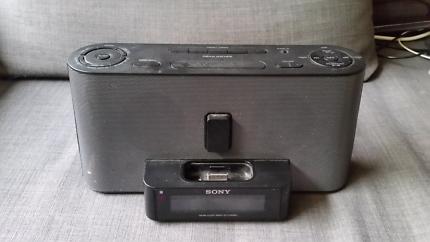 Sony ipod dock, radio and alarm clock