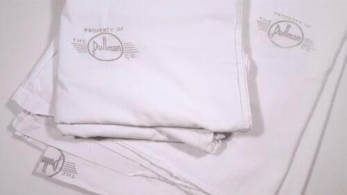 VINTAGE PULLMAN CO. BED SHEET PAIR TRAIN SLEEPING CAR LINENS TWIN 64x84