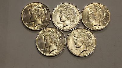 Lot of 5 1923 Silver Peace Dollars BU UNC Uncirculated