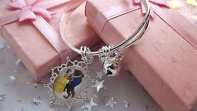 BEAUTY AND THE BEAST PRINCESS BELLE CHARM  BANGLE age 3, 4,5,6,7 YEARS GIFT BOX
