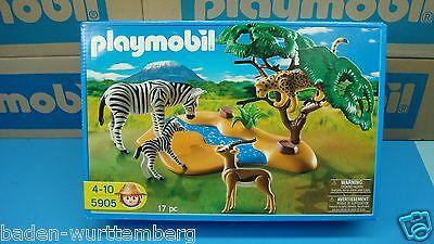 Playmobil 5905 series forest cheetah zebra gazelle river NEW  Box geobra toy 116