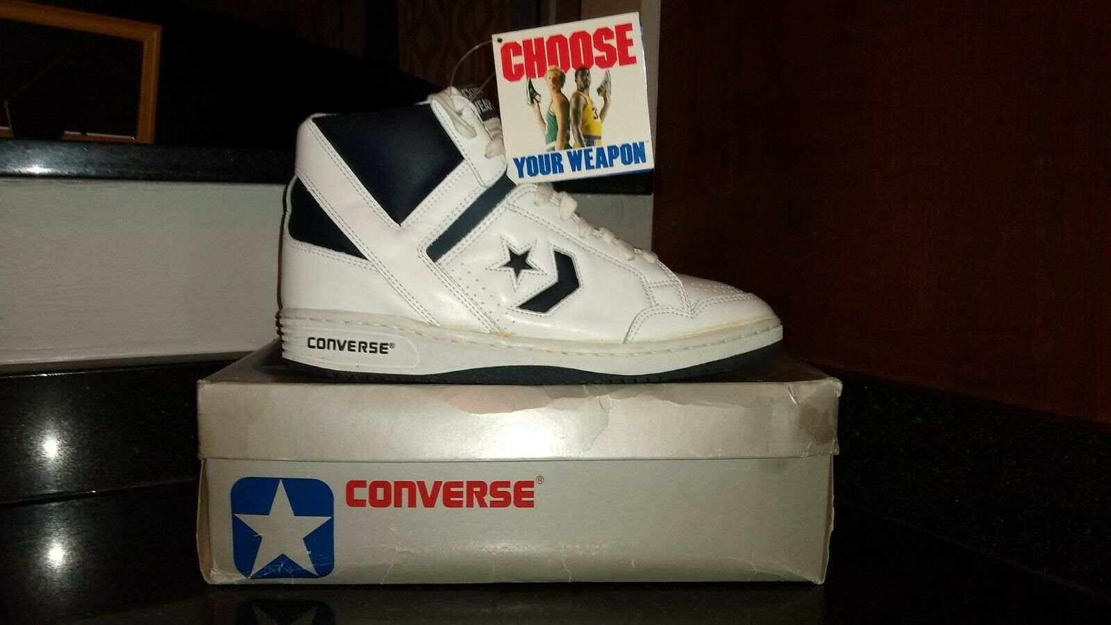 1986 Deadstock Brand new Converse WEAPONS  White / Navy Size