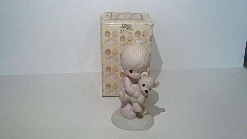 "Precious Moments ""Jesus Loves Me"" Boy with Teddy Bear Figurine"