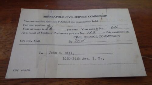 1925  MINNEAPOLIS  MINNESOTA POLICE CIVIL SERVICE COMMISSION EXAM CARD BX PC1