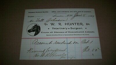 1897 LEWISTON NY BILLHEAD Dr W R HUNTER VETERINARY SURGEON HORSE SPECIALIST