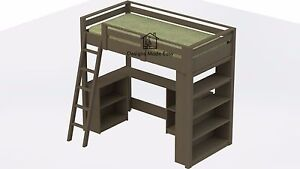 Easy DIY Kids Twin Loft Bed with Desk and Bookcases - Design Plans