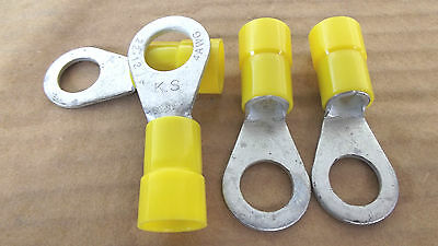 """4PCS VINYL RING ELECTRICAL CONNECTORS,4 GAUGE 1/2""""STUD SIZE,MADE IN USA.1.7."""