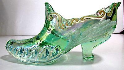 Fenton Art Lime Green Carnival Glass Slipper Shoe Swans Signed By Artist