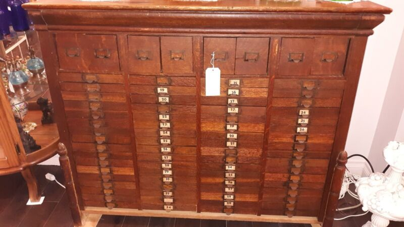 Antique / Vintage Wood 76 Drawer Shop Map Cabinet ~ Boyce Cabinet Company