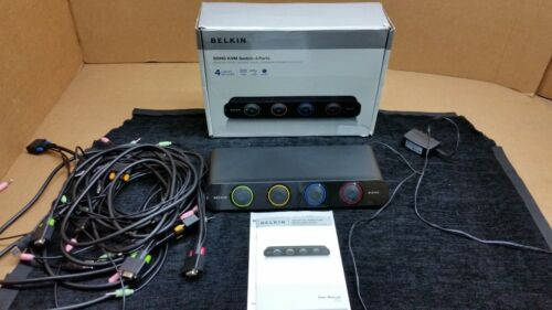 Belkin F1DS104L SOHO 4-Port KVM Switch w/ Connecting Cables Tested Working 1862
