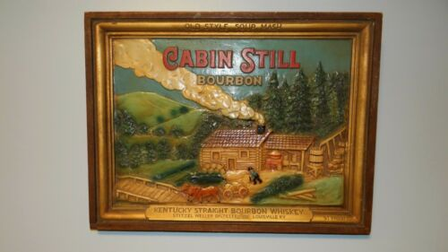 Scarce 1930s Vtg Cabin Still Bourbon Whiskey Plaster & Wood Sign Stitzel Weller