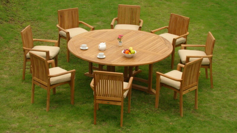 "9-piece Outdoor Teak Dining Set: 72"" Round Table, 8 Stacking Arm Chairs Lua"