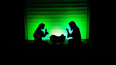 Black Outdoor Nativity scene ligted LED Yard Christmas Manger Set Holy Family - Nativity Scene Sets Outdoor
