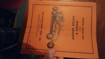 Allis Chalmers Model D Motor Grader Parts Catalog Manual Original