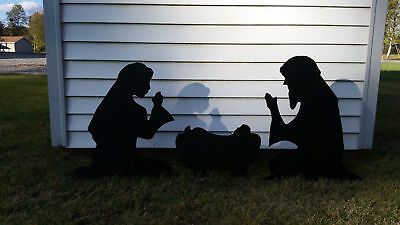 Outdoor Nativity Scene Silhouette Yard Art Christmas Manger Set Holy Family - Nativity Scene Sets Outdoor