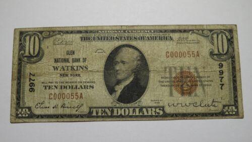 $10 1929 Watkins New York NY National Currency Bank Note Bill Ch #9977 RARE