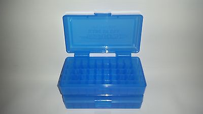 BERRY'S PLASTIC AMMO BOXES (2) BLUE 50 Round 9MM / 380 - FREE SHIPPING