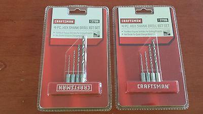 Craftsman 4 piece Hex Shank Drill Bit Set 37916 - NEW! Lot of 2