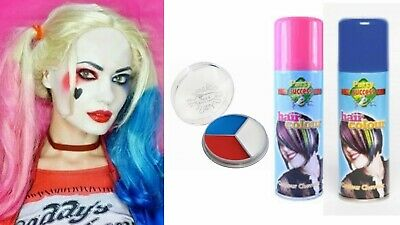 Hairspray Halloween Costume (Pink Blue Hairspray Cans Harley Quinn Suicide Squad Hair Red White Face)
