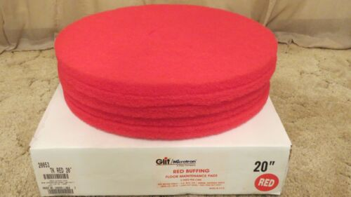Red Buffing Floor Maintenance Pads 20 inch Pads 5 per Case Made in the USA