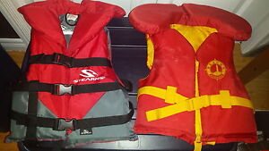 Life jackets, multi-sport helmets, pads, snow-stompers
