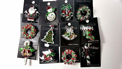 12 pcs Brooch/pin Christmas pretty Vintage for wholesale Lot .