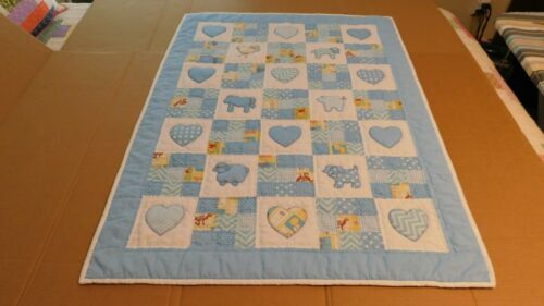 Handmade Animal/Heart Baby Boy Quilt