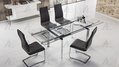 - Clear Glass Top Extendable Dining Table Chrome Legs American Eagle TL-1134S-C