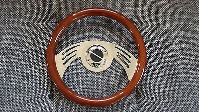 Custom Holz Lenkrad Sportlenkrad Hot Rod Ford Mustang Chevrolet Chrom Billet NEU
