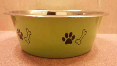 Stainless Steel dish bowl 5 QT 160 oz 20 cups Green design dog pet plate water