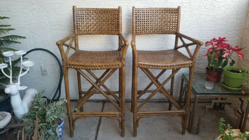 Pair of McGuire Style Rattan Barstools Antalya Woven Rawhide Leather