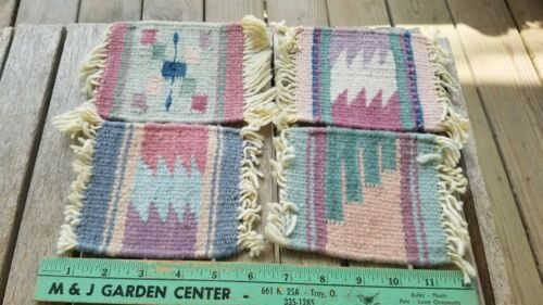 Woven Native American Indian Southwestern Rug Coasters Lot Of 4