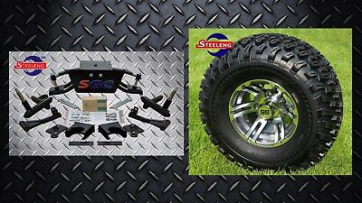 """Club Car DS Golf Cart 6"""" A-Arm Lift Kit + 10"""" Wheels and 22"""" AT Tires 2004.5-UP"""