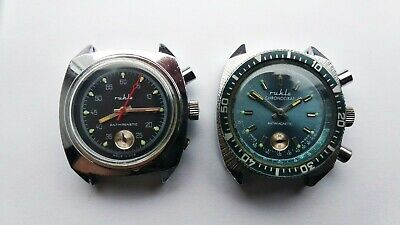 ✩2 pieces Vintage Mens Watch Ruhla chronograph Germany Mens wristwatch 1970s ✩
