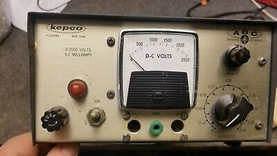 Kepco High Voltage Power Supply 0-2500vdc 2ma Max Model Abc2500m