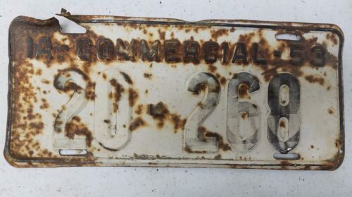 1953 IOWA Clarke County Commercial License Plate 20-268