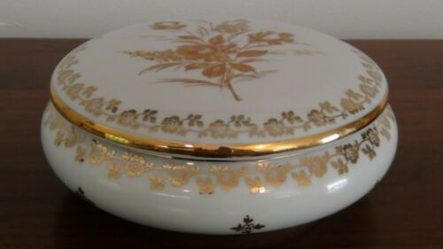 Vintage Limoges France Amphora Porcelain Gold Gilt Powder Trinket Bowl Dish Lid