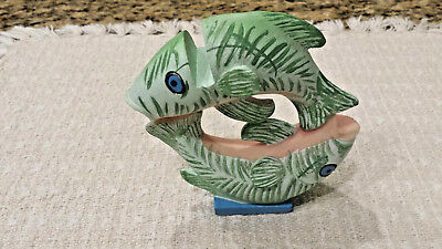Unique Whimsical Double Fish With Faces Business Card Display Holder