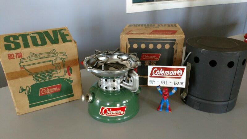 Coleman Stove 502 Excellent Shape Mint! With Heat Drum 5/1970