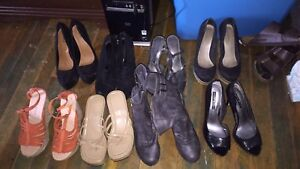 21 pairs of shoes for sale.