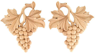 "IWW29 - 4"" 5"" 7"" 10"" Pair of Hand-Carved Grape Leaf Scrolls in Oak Maple Cherry"