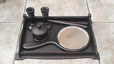 ANTIQUE VINTAGE LADIES DRESSING TABLE SET BLACK PRINCE GABOON EBONY for sale  Doncaster