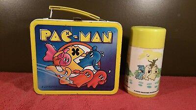 L@@K!! Vintage 1980 Pac-Man Metal Lunch Box W/ Thermos 80's Phenomenon!!